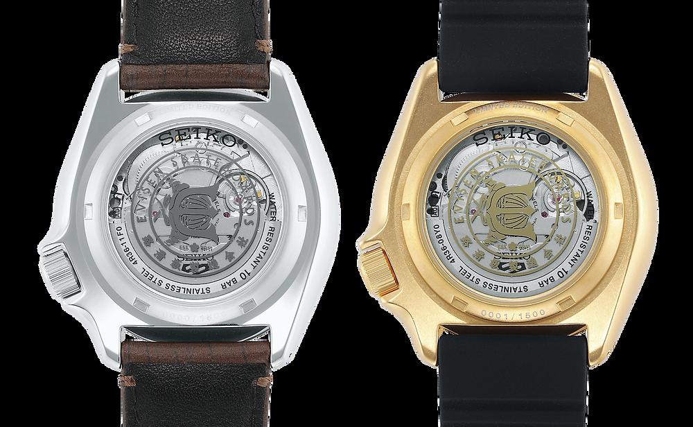 Seiko 5 x Evisen SRPF93K1 tapa de fondo reloj transparente calibre 4r36