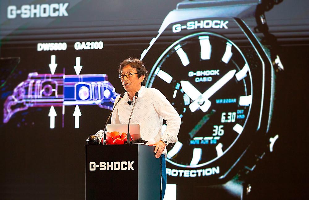 kikuo ibe G-Shock Singapur 2019 presentando nuevo reloj GA-2100-1AER