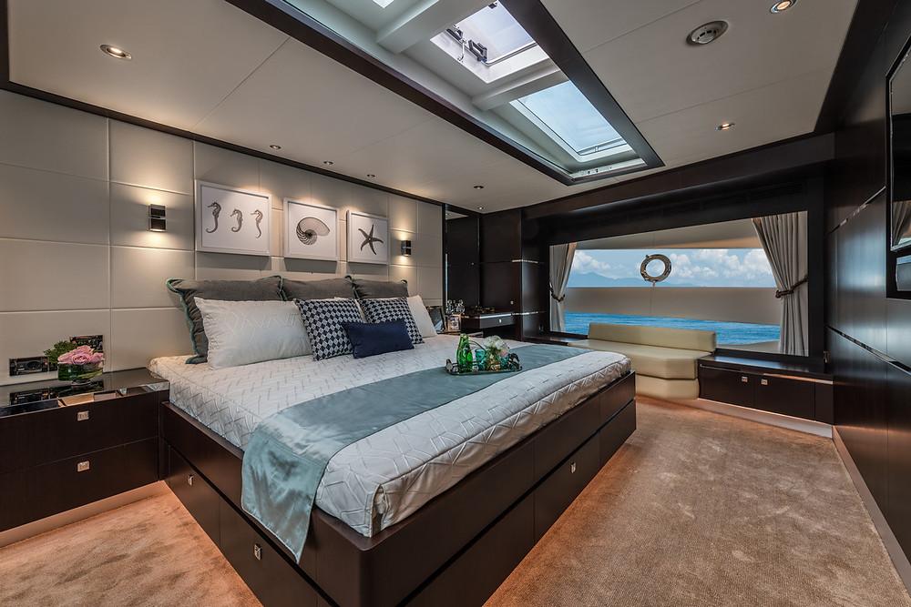 Detalle camarote armador y vip yate 26m horizon yachts FD85 en venta