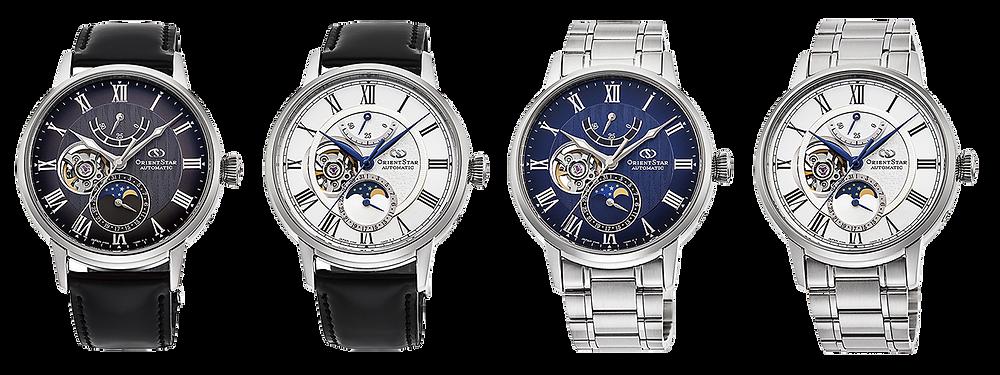 relojes marca orient Star con complicacion fases lunares, calibre automatico RE-AY0107N