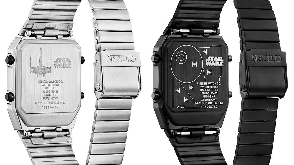relojes citizen star wars 2021, detalle fondo grabado