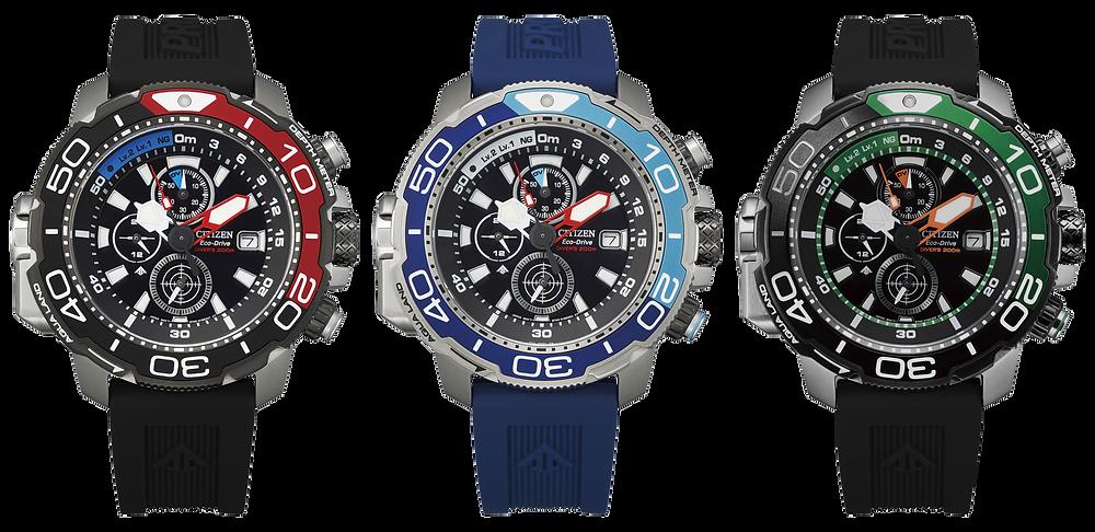 Nuevos promaster Aqualand relojes eco-drive con profundímetro y cronógrafo BJ2167-03E , BJ2169-08E y BJ2168-01E