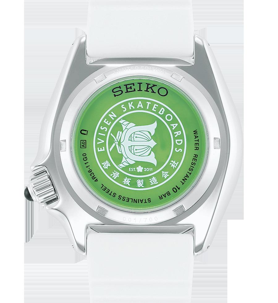 detalle fondo del reloj edicion limitada numerada evisen x seiko 5 sports SRPF95K1
