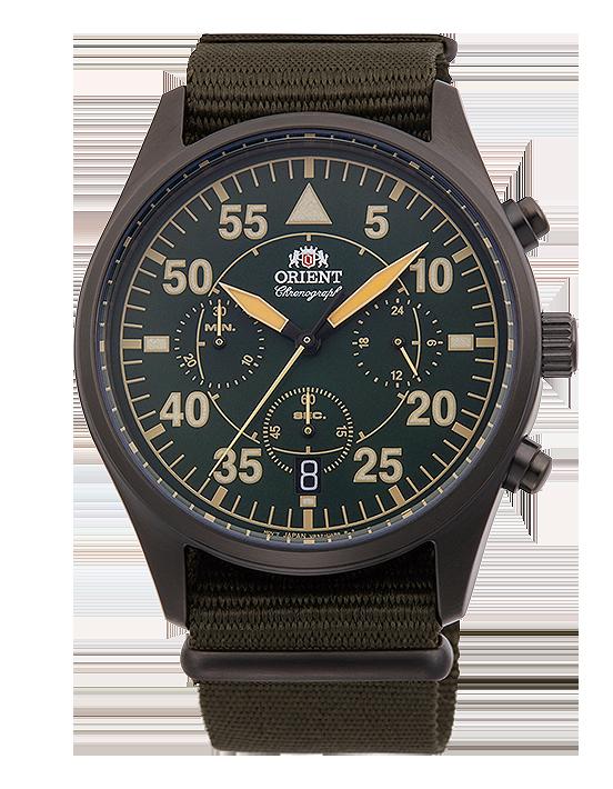 reloj orient crono cuarzo nato verde RA-KV0501E10B