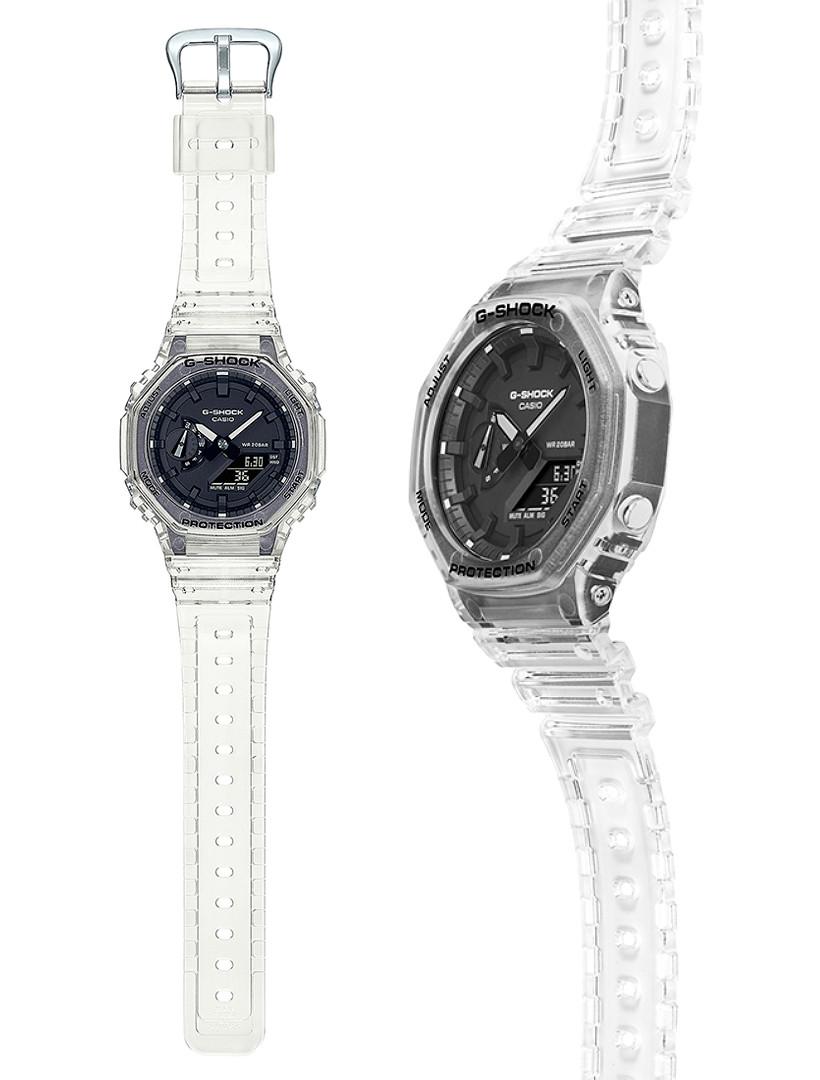 Casio G-Shock modelo ga-2100ske-7aer skeleton 2021, vista principal reloj 3d