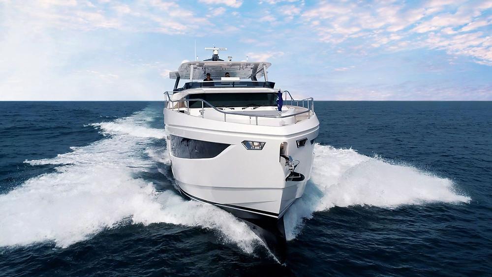 Vista proa barco nuevo Horizon yacht FD75 en acción