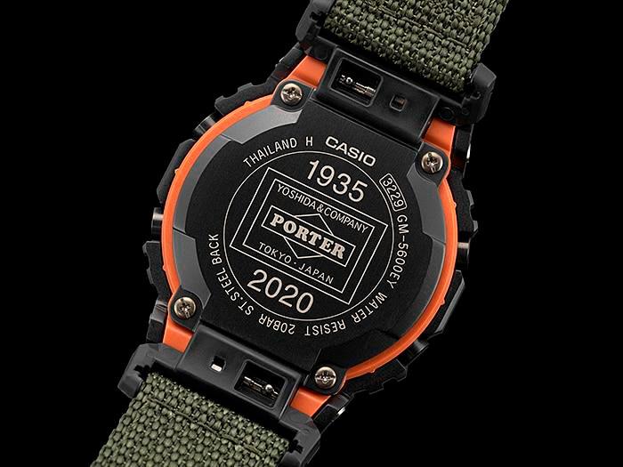detalle tapa fondo reloj edicion limitada g-shock x porter GM-5600EY