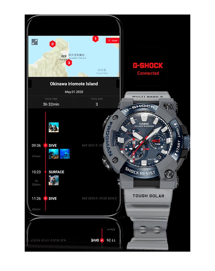 GWF-A1000RN reloj divers conectado a smartphon -app g-shock