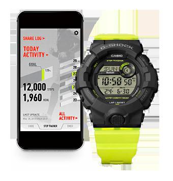 modelo reloj fitnes bluetooth G-SHOCK GMD-B800 detalle app
