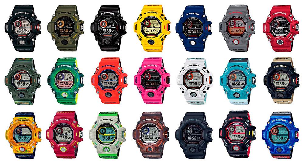 todos los relojes g-shock rangeman producidos desde el primero de 2013 hasta 2020