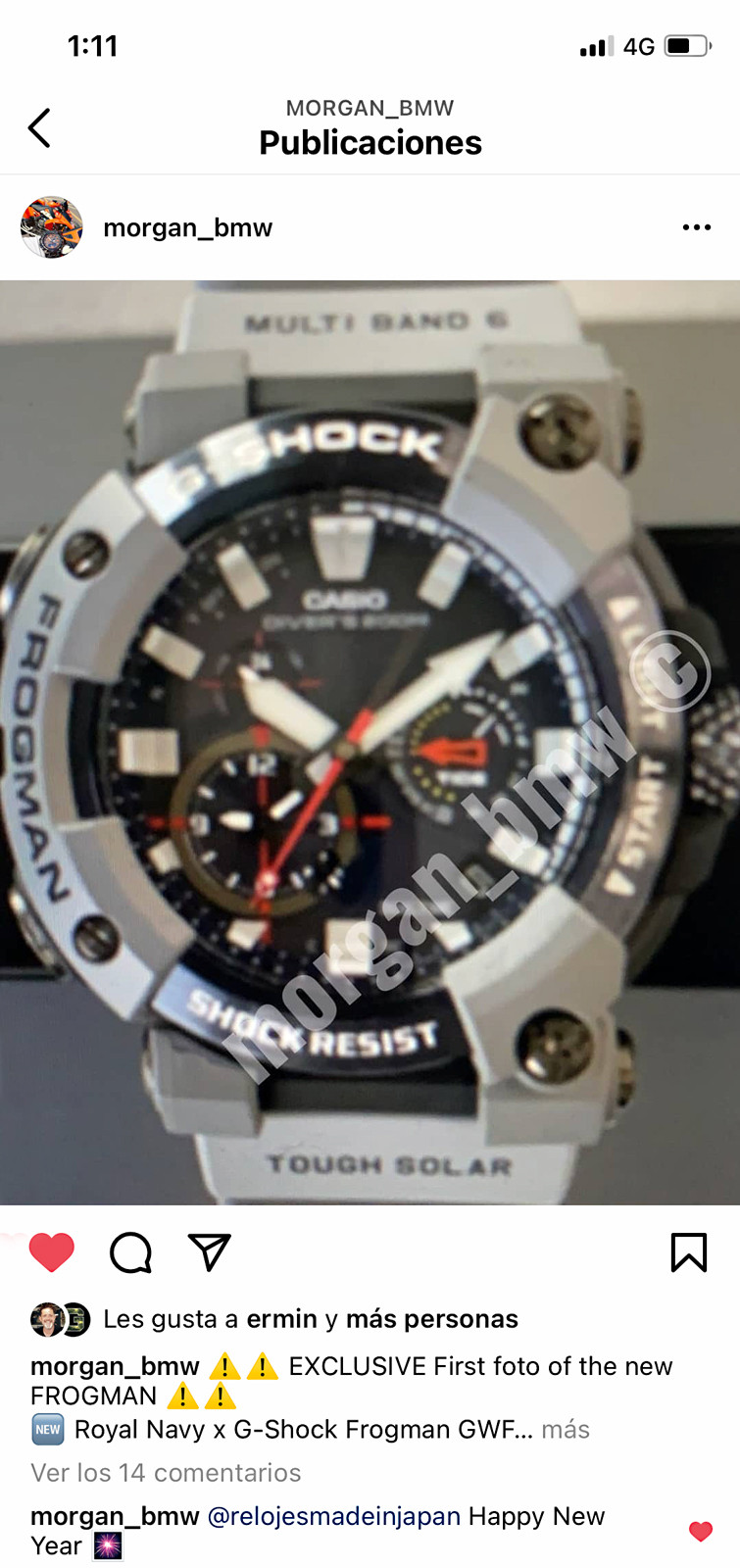 post instagram nuevo reloj Frogman edicion limitada Royal Navy GWFA1000RN8A