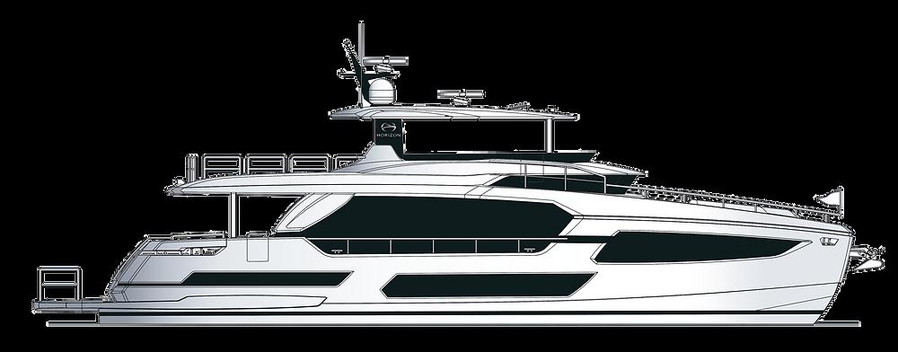 perfil tecnico yate 23 metros desplazamiento Horizon F75 disponible