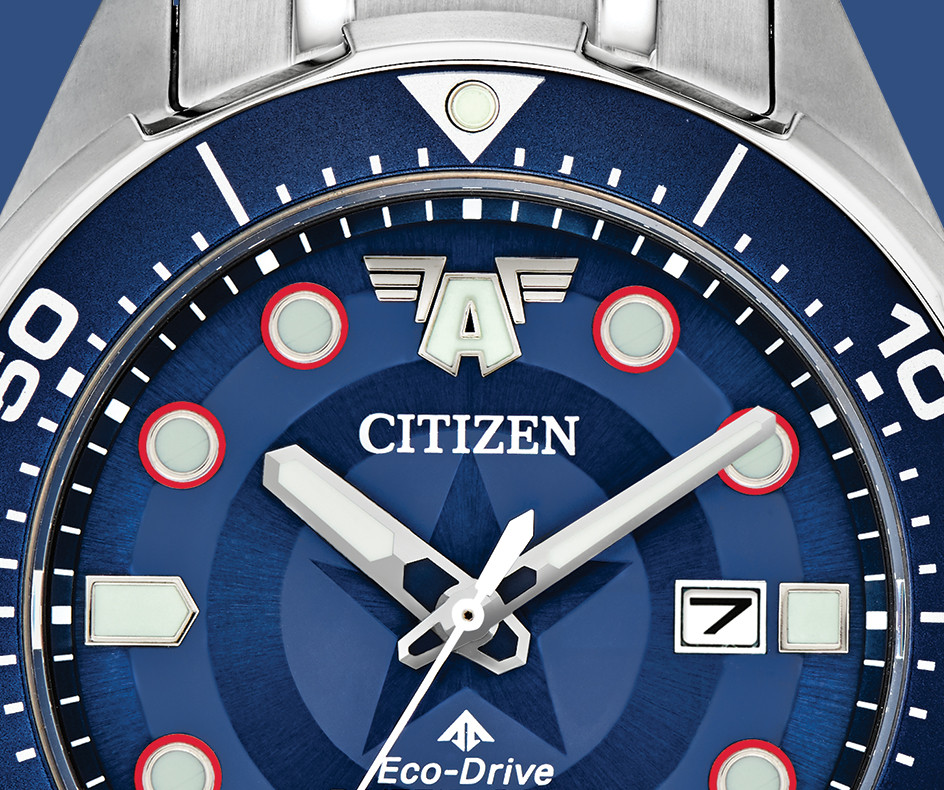 Detalle esfera reloj capitan america de Citizen watch