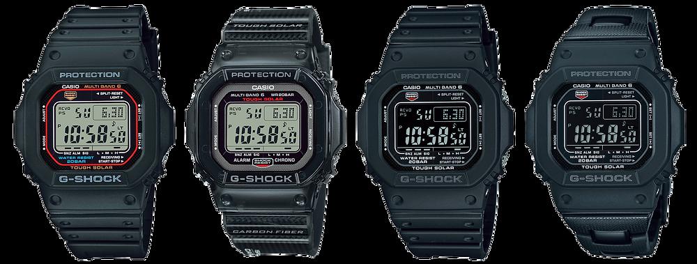 4 nuevos g-shock actualizados con módulo 3495 referencias GW-M5610U-1, GW-S5600U-1, GW-M5610U-1B, GW-M5610U-1B