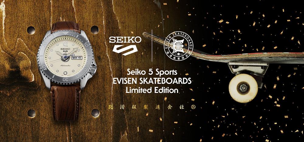promocion reloj edicion limitada numerada seiko 5 sports x evisen monopatines SRPF93k1
