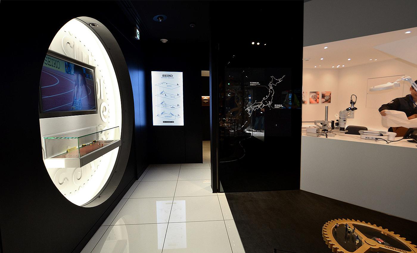 Hall store Seiko en Ginza, con Atelier y historia relojes japoneses