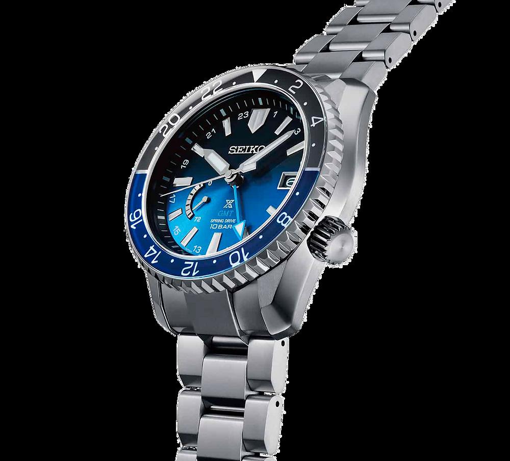 Detalle degradado azul esfera reloj Prospex LX SNR049J1