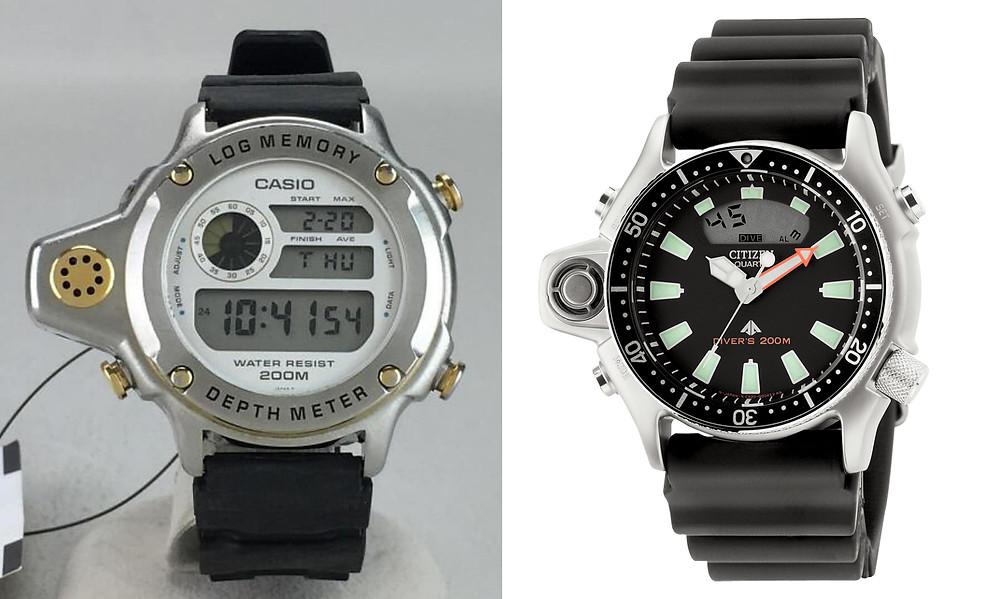 Comparativa relojes con sensor de profundidad casio y citizen