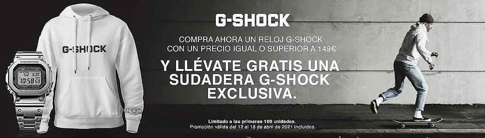 banner promocion regalo sudadera g-shock en tienda online casio espana / spain
