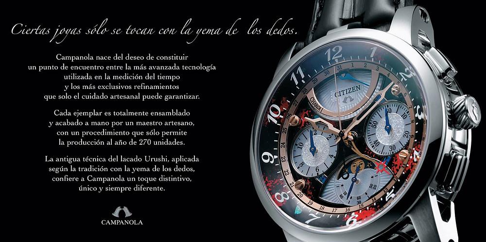 marca Citizen Campanola primeros relojes españa italia 2008 modelo AV2000-27W