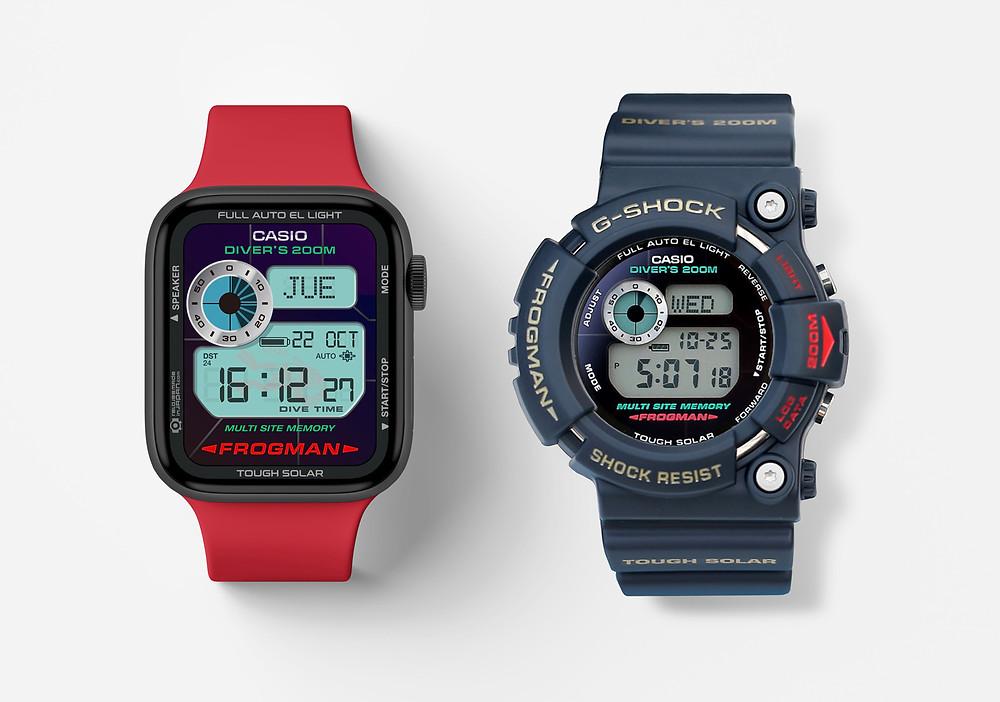 esfera del Frogman GW200 en un Apple Watch, utilizando clockology