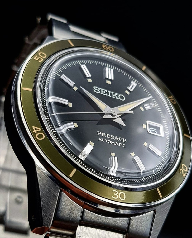 detalle reloj seiko plexiglass style60s novedad 2021 modelo presage SRPG07J1