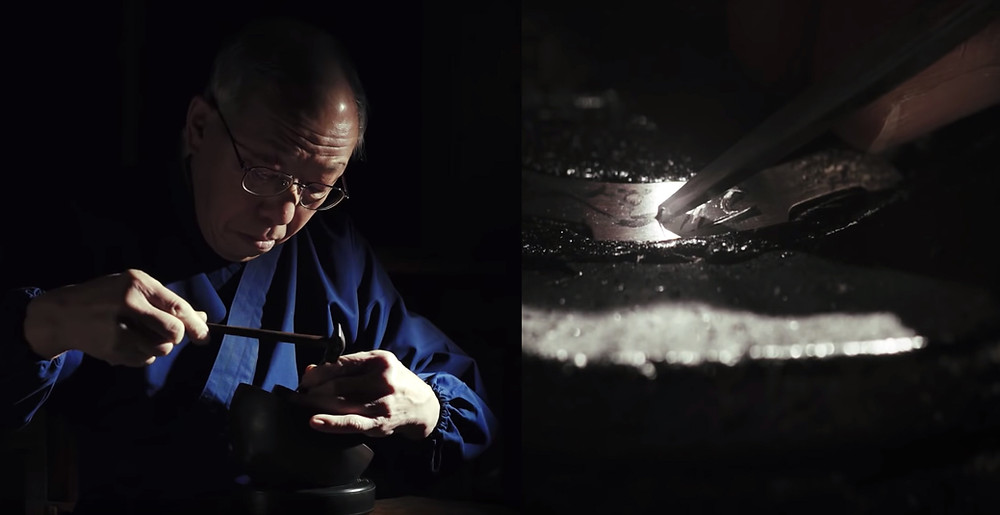 Artesano esculpiendo a mano bisel reloj exclusivo MRG-B2000SH-5A