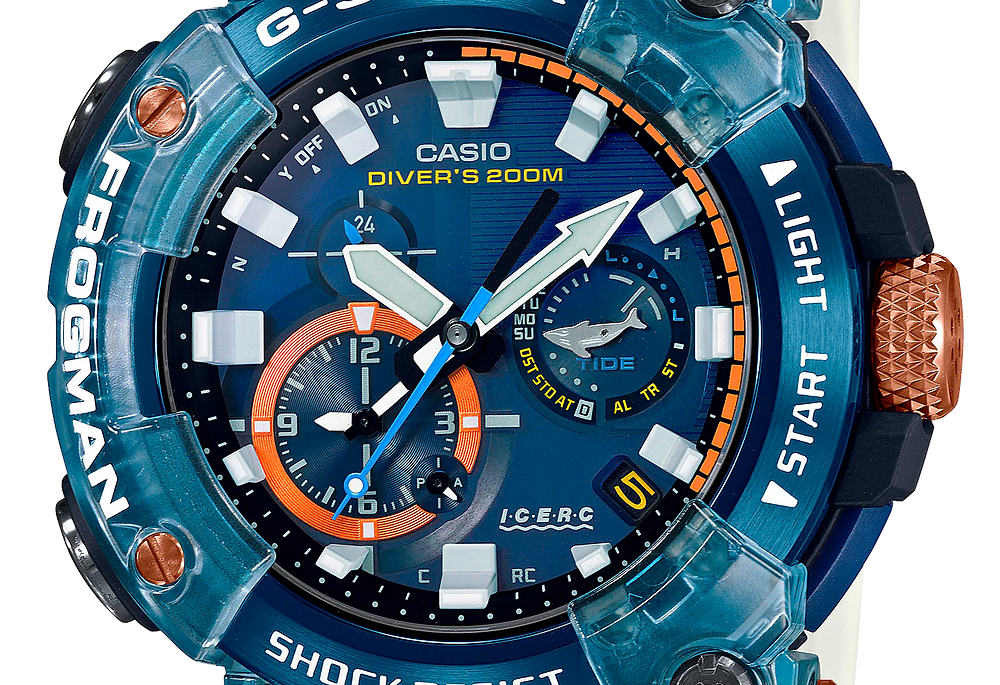 detalle esfera reloj diver's frogman icerc GWF-A1000K-2A