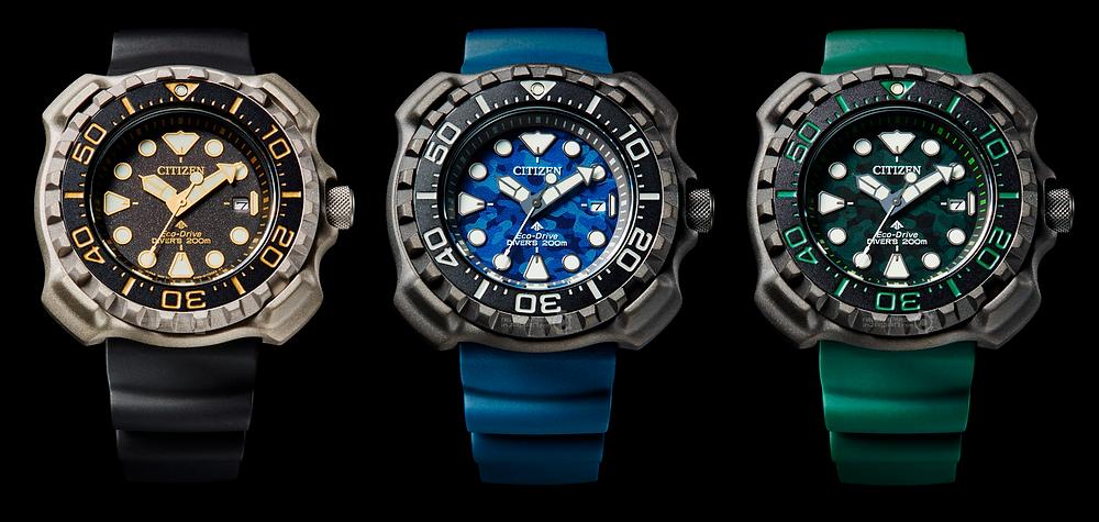 nuevos relojes diver citizen promaster BN022, BN0227, BN0228, reedicion 1982 super titanium eco drive y 200m