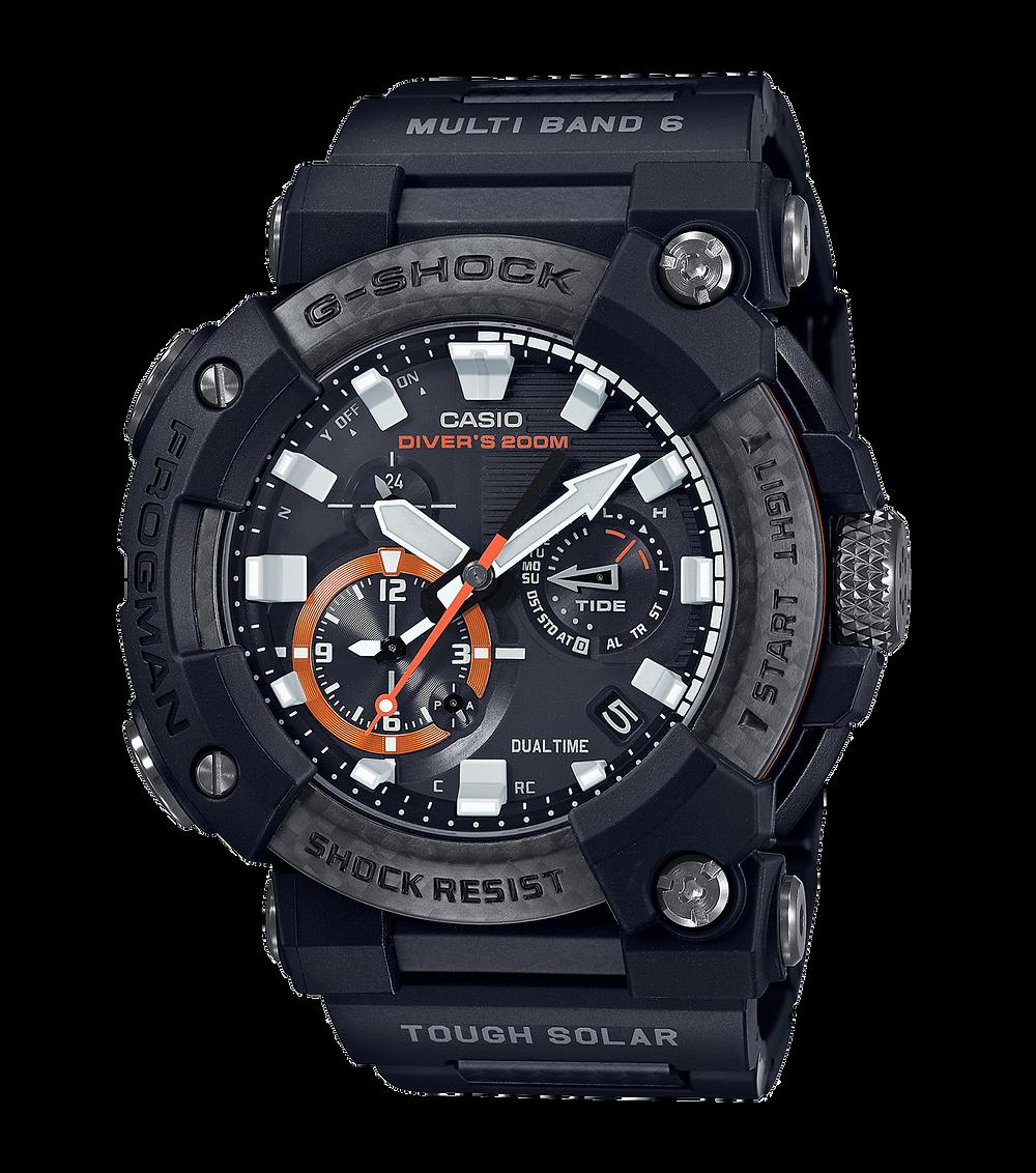 nuevos relojes frogman GWF-A1000XC-1A y GWF-A1000C-1A con pulsera de eslabones y carbono