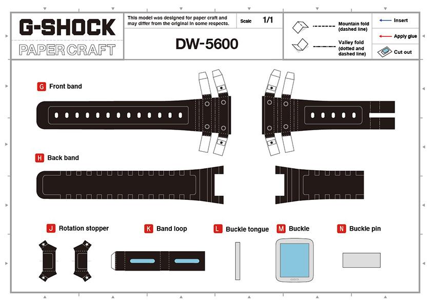 Plantilla reloj G-Shock DW5600 para construir tu mismo