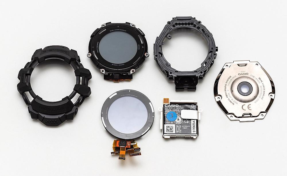 detalle smartwatch casio g-shock gsw-h1000 como esta construido