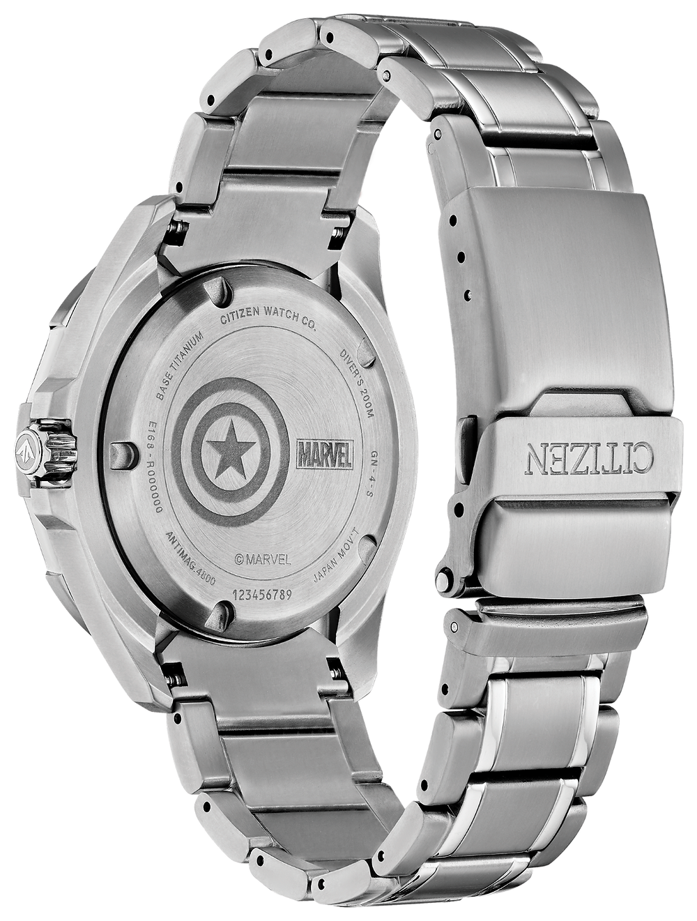 detalle tapa fondo reloj Citizen x Marvel super titanium BN0208-54W