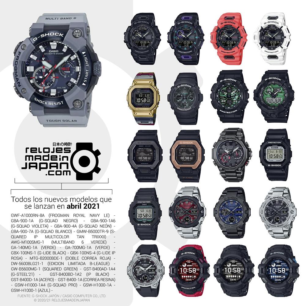 infografia de todos los relojes G-Shock lanzados cada mes desde japón o internacional