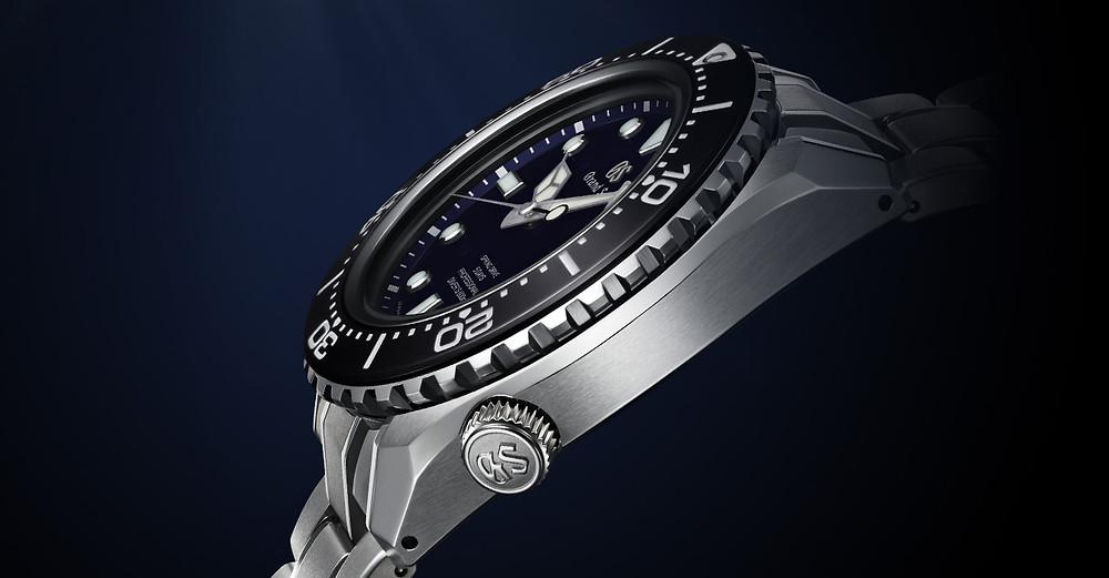 SLGA001 Grand-Seiko Spring Drive reloj Diver 60 aniversario detalle corona