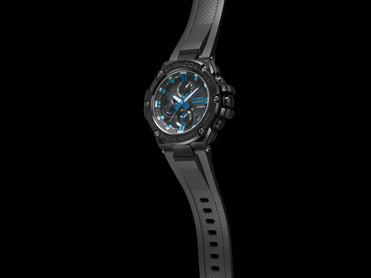 Detalle correa y caja en color negro modelo reloj GST-B100BNR-1A