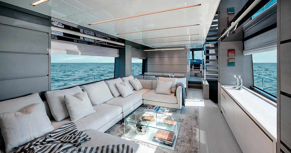 detalle salon yate sanlorenzo sl78 25 metros eslora nuevo sentyacht