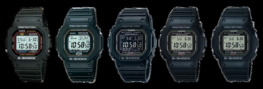 cronologia tecnologia atomica reloj casio modelo gw5000 de 1983 / 2005 / 2009 / 2021