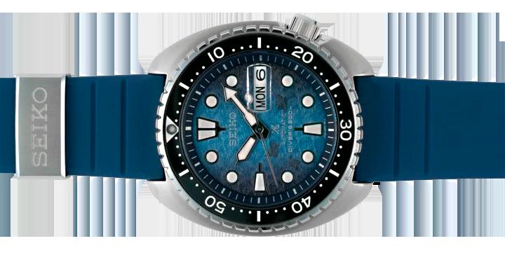 Detalle nueva correa reloj seiko king turtle save the ocean 2021 modelo SRPF77K1