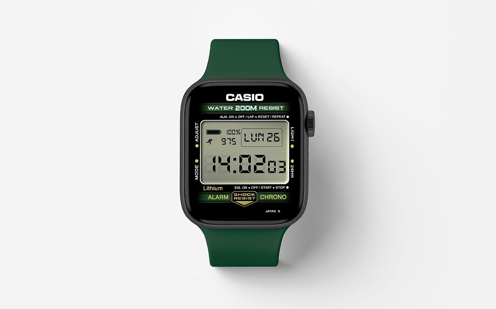 Watchface, esfera casio para el Apple Watch, de Clockology app
