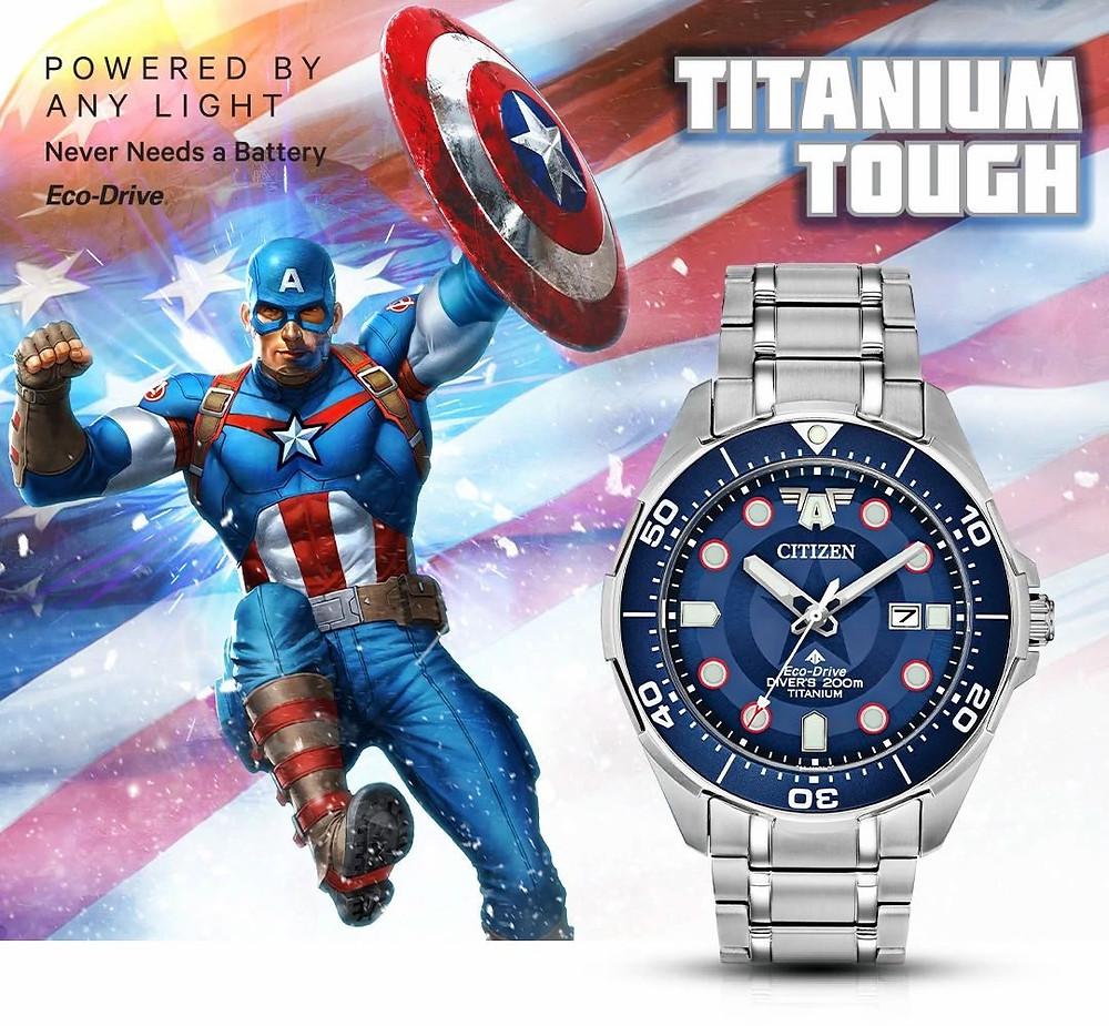 Imagen promocional reloj Capitan America de Citizen modelo BN0208-54W lanzado 4 julio