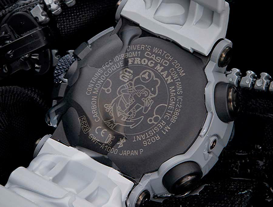 detalle rana dibujo royal-navy reloj frogman gwf a1000rn 8aer