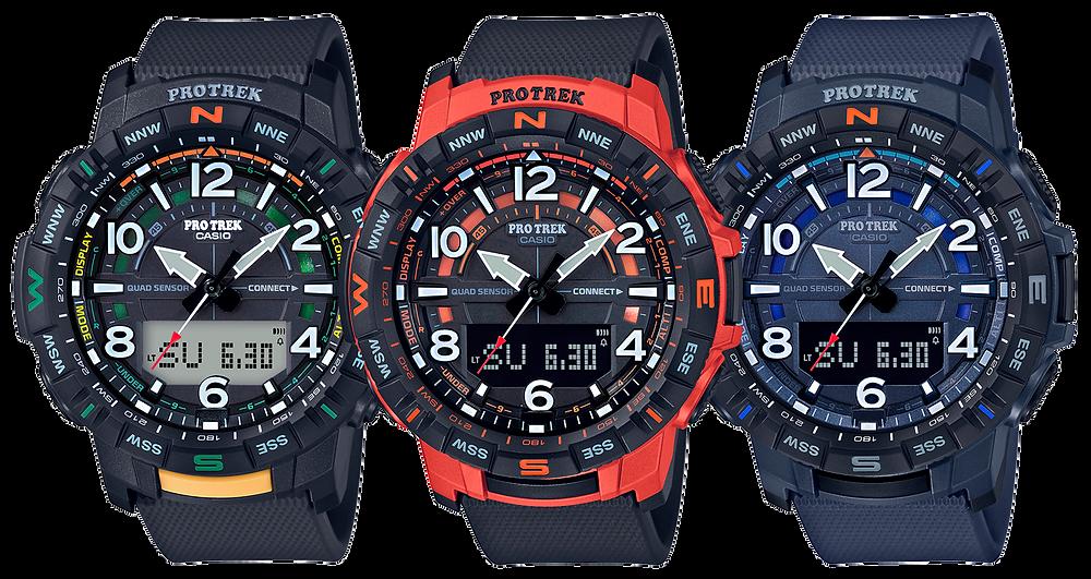 relojes casio protrek con triple sensor, brujila altimetro, barómetro, temperatura, cuenta pasos...