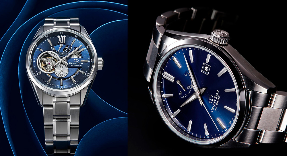 ORIENT STAR Modern Skeleton RE-AV0003L del 2019 y basic blue RE-AU0403L00B de 2020