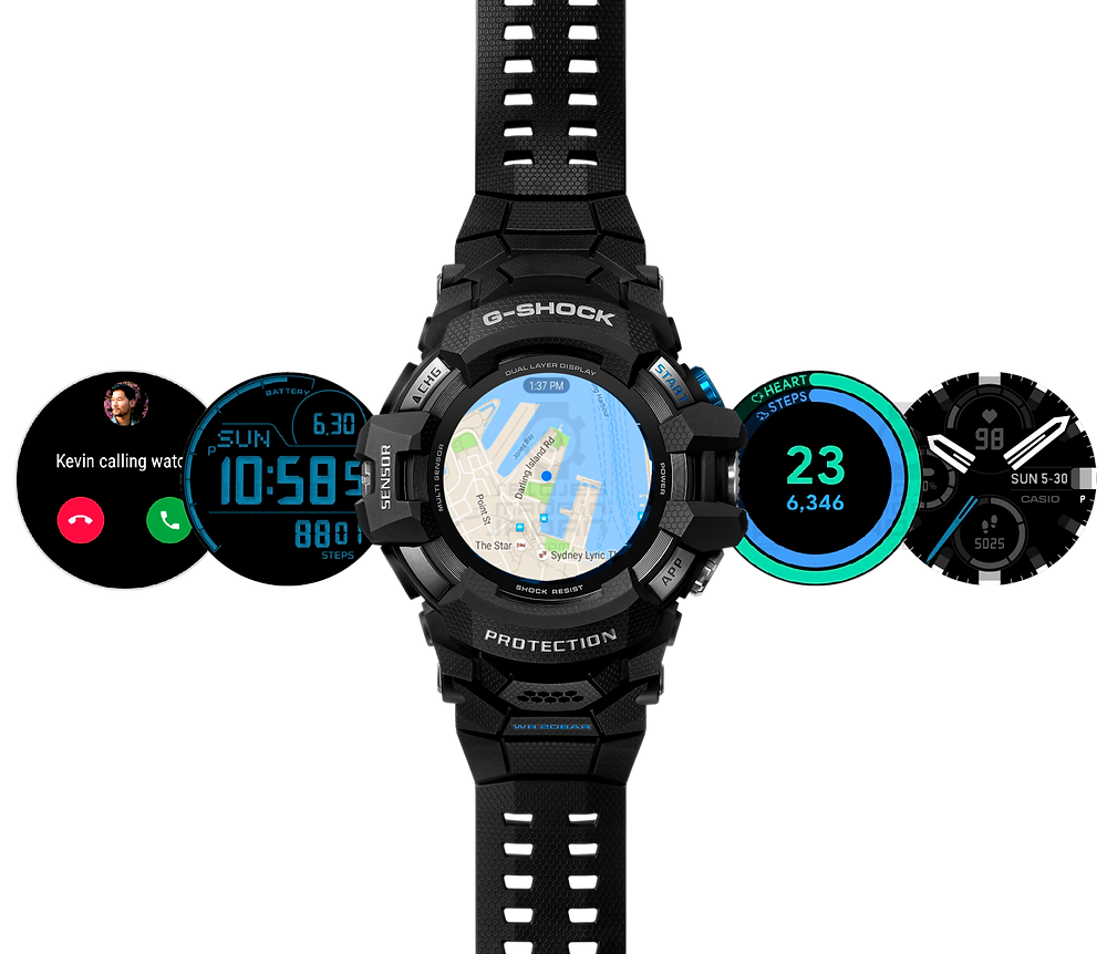 gsw-h1000 reloj wear os de g-shock pantalla lcd mip hd