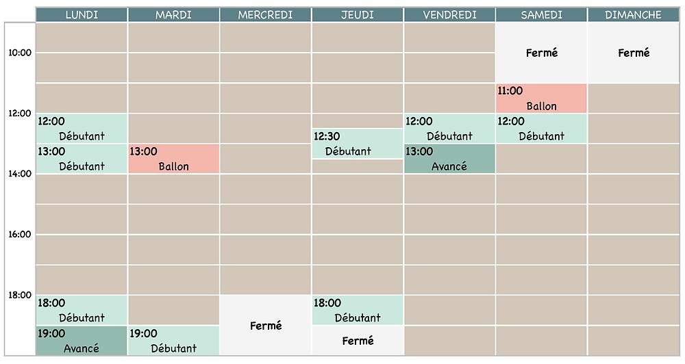 Planning @ La Pause Pilates - Toulouse