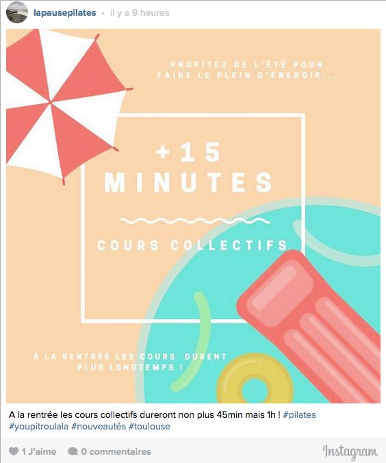 15 min de plus en cours de Pilates collectifs !