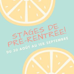Stages de Pré-rentrée !