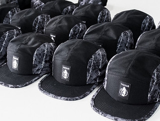 5-Panel Hats // Barbed wire design with blacklight glowing feature // designed by Jimmy Memento