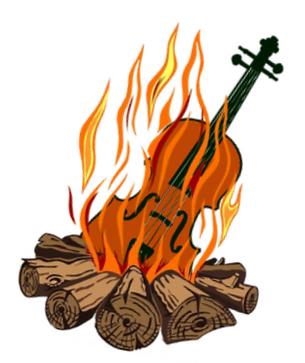 fiddle adventure logo burning fiddle whi